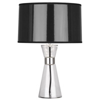 Robert Abbey B810 Penelope 21 inch 100 watt Clear Glass with Polished Nickel Accent Lamp Portable Light in Black Ceramik With Silver Mylar