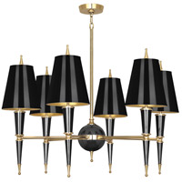 Robert Abbey B904 Jonathan Adler Versailles 6 Light 37 inch Black Paint with Modern Brass Chandelier Ceiling Light in Black Painted Opaque Parchment