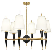 Robert Abbey B904X Jonathan Adler Versailles 6 Light 37 inch Black Paint with Modern Brass Chandelier Ceiling Light in Fondine Fabric