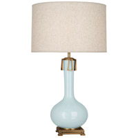 Robert Abbey BB992 Athena 32 inch 150 watt Baby Blue with Aged Brass Table Lamp Portable Light