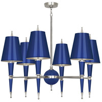 Robert Abbey C604 Jonathan Adler Versailles 6 Light 15 inch Navy Lacquer with Polished Nickel Chandelier Ceiling Light in Navy With Matte Silver