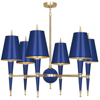 Robert Abbey C904 Jonathan Adler Versailles 6 Light 37 inch Navy Paint with Modern Brass Chandelier Ceiling Light in Cobalt, Cobalt Painted Opaque Parchment