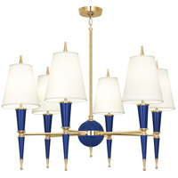 Robert Abbey C904X Jonathan Adler Versailles 6 Light 37 inch Navy Paint with Modern Brass Chandelier Ceiling Light in Fondine Fabric, Cobalt
