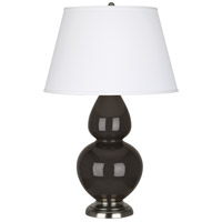 Robert Abbey CF22X Double Gourd 31 inch 150 watt Coffee Table Lamp Portable Light in Antique Silver, Pearl Dupioni
