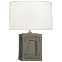 Robert Abbey CG51 Williamsburg Nottingham 18 inch 100 watt Grey Taupe with Modern Brass Accent Lamp Portable Light in Carter Gray