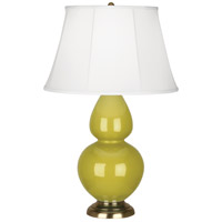 Robert Abbey CI20 Double Gourd 31 inch 150 watt Citron Table Lamp Portable Light in Antique Brass, Ivory Silk