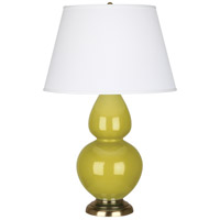 Robert Abbey CI20X Double Gourd 31 inch 150 watt Citron Table Lamp Portable Light in Antique Brass Pearl Dupioni