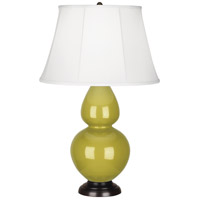 Robert Abbey CI21 Double Gourd 31 inch 150 watt Citron Table Lamp Portable Light in Deep Patina Bronze, Ivory Silk