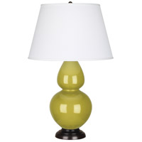 Robert Abbey CI21X Double Gourd 31 inch 150 watt Citron Table Lamp Portable Light in Deep Patina Bronze Pearl Dupioni