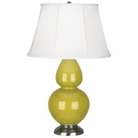 Robert Abbey CI22 Double Gourd 31 inch 150 watt Citron Table Lamp Portable Light in Antique Silver Ivory Silk