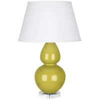 Robert Abbey CI23X Double Gourd 30 inch 150 watt Citron Table Lamp Portable Light in Lucite Pearl Dupioni