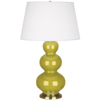 Robert Abbey CI40X Triple Gourd 33 inch 150 watt Citron Table Lamp Portable Light in Antique Brass
