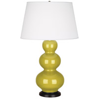 Citron Ceramic Triple Gourd Table Lamps
