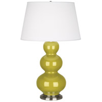 Robert Abbey CI42X Triple Gourd 33 inch 150 watt Citron Table Lamp Portable Light in Antique Silver