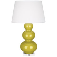 Robert Abbey CI43X Triple Gourd 33 inch 150 watt Citron Table Lamp Portable Light in Lucite