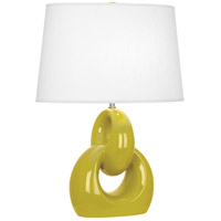 Robert Abbey CI981 Fusion 27 inch 150 watt Citron with Polished Nickel Table Lamp Portable Light