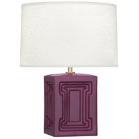 Williamsburg Nottingham 18 inch 100 watt Carter Plum with Modern Brass Table Lamp Portable Light