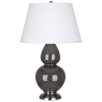 Double Gourd 31 inch 150 watt Ash Table Lamp Portable Light in Pearl Dupioni Fabric