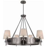 Robert Abbey D2009 Rico Espinet Caspian 7 Light 46 inch Dark Antique Nickel Chandelier Ceiling Light in Raw Linen