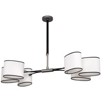 Robert Abbey D2128 Axis 6 Light 49 inch Blackened Antique Nickel with Matte Black Chandelier Ceiling Light in Ascot White Fabric thumb