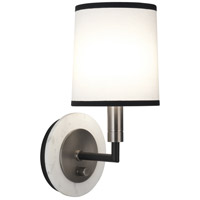 Robert Abbey D2136 Axis 1 Light 6 inch Blackened Antique Nickel with Matte Black Wall Sconce Wall Light in Ascot White Fabric thumb