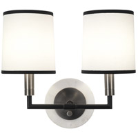 Robert Abbey D2137 Axis 2 Light 14 inch Blackened Antique Nickel with Matte Black Wall Sconce Wall Light in Ascot White thumb
