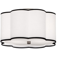 Axis 2 Light 16 inch Blackened Antique Nickel Flush Mount Ceiling Light in Ascot White Fabric