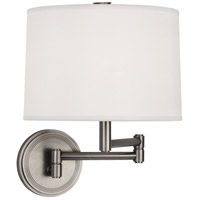 Robert Abbey D2824 Sofia 12 inch 100 watt Dark Antique Nickel Wall Swinger Wall Light in White Linen