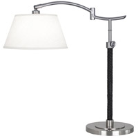 Robert Abbey D581 Kyoto 20 inch 60 watt Dark Antique Nickel with Woven Black Leather Table Lamp Portable Light