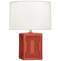 Robert Abbey DB51 Williamsburg Nottingham 18 inch 100 watt Rusty Red Orange with Modern Brass Accent Lamp Portable Light in Dragons Blood