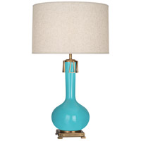 Robert Abbey EB992 Athena 32 inch 150 watt Egg Blue with Aged Brass Table Lamp Portable Light