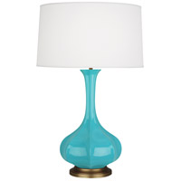 Robert Abbey EB994 Pike 32 inch 150 watt Egg Blue Table Lamp Portable Light in Aged Brass
