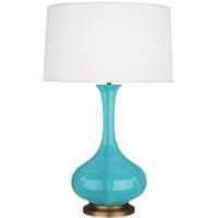 Robert Abbey EB994 Pike 32 inch 150 watt Egg Blue Table Lamp Portable Light in Aged Brass