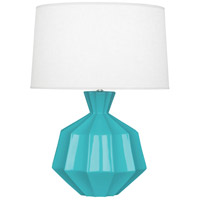 Robert Abbey EB999 Orion 27 inch 150 watt Egg Blue Table Lamp Portable Light, Polished Nickel Accents