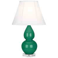 Robert Abbey EG13 Small Double Gourd 22 inch 150 watt Emerald Green Accent Lamp Portable Light in Lucite, Ivory Silk