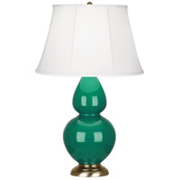 Robert Abbey EG20 Double Gourd 31 inch 150 watt Emerald Green Table Lamp Portable Light in Antique Brass, Ivory Silk