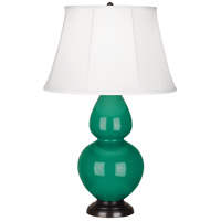 Robert Abbey EG21 Double Gourd 31 inch 150 watt Emerald Green Table Lamp Portable Light in Deep Patina Bronze, Ivory Silk