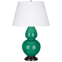 Robert Abbey EG21X Double Gourd 31 inch 150 watt Emerald Green Table Lamp Portable Light in Deep Patina Bronze, Pearl Dupioni
