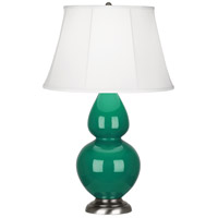 Robert Abbey EG22 Double Gourd 31 inch 150 watt Emerald Green Table Lamp Portable Light in Antique Silver, Ivory Silk