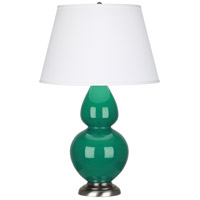 Robert Abbey EG22X Double Gourd 31 inch 150 watt Emerald Green Table Lamp Portable Light in Antique Silver Pearl Dupioni