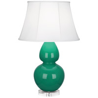 Robert Abbey EG23 Double Gourd 30 inch 150 watt Emerald Green Table Lamp Portable Light in Lucite, Ivory Silk