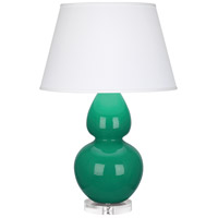 Robert Abbey EG23X Double Gourd 30 inch 150 watt Emerald Green Table Lamp Portable Light in Lucite, Pearl Dupioni