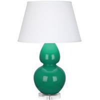 Robert Abbey EG23X Double Gourd 30 inch 150 watt Emerald Green Table Lamp Portable Light in Lucite Pearl Dupioni