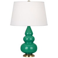 Robert Abbey EG30X Small Triple Gourd 24 inch 150 watt Emerald Green Accent Lamp Portable Light in Antique Brass