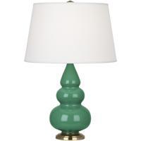 Robert Abbey EG30X Small Triple Gourd 24 inch 150 watt Emerald Green Accent Lamp Portable Light in Antique Brass