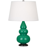 Robert Abbey EG31X Small Triple Gourd 24 inch 150 watt Emerald Green Accent Lamp Portable Light in Deep Patina Bronze