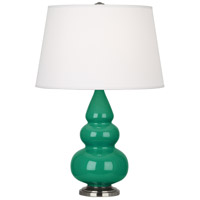 Robert Abbey EG32X Small Triple Gourd 24 inch 150 watt Emerald Green Accent Lamp Portable Light in Antique Silver