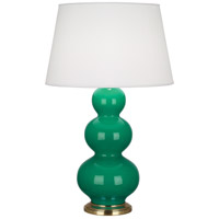 Robert Abbey EG40X Triple Gourd 33 inch 150 watt Emerald Green Table Lamp Portable Light in Antique Brass