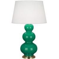 Robert Abbey EG40X Triple Gourd 33 inch 150 watt Emerald Green Table Lamp Portable Light in Antique Brass