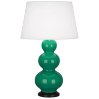 Robert Abbey EG41X Triple Gourd 33 inch 150 watt Emerald Green Table Lamp Portable Light in Deep Patina Bronze